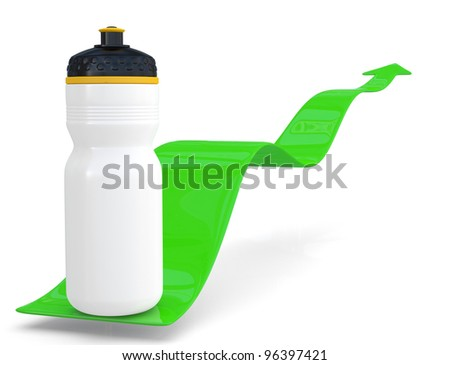 Fitness water bottle with arrow. 3D model - stock photo