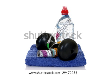Fitness weights for workout, isolated on white background, reflective surface - stock photo