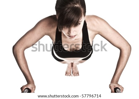 Fitness woman doing a pushup - stock photo