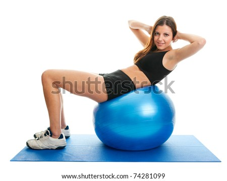 Fitness woman doing crunches on gym mat. Isolated on white - stock photo