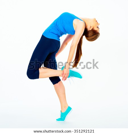 fitness woman doing dancing exercise. white background - stock photo