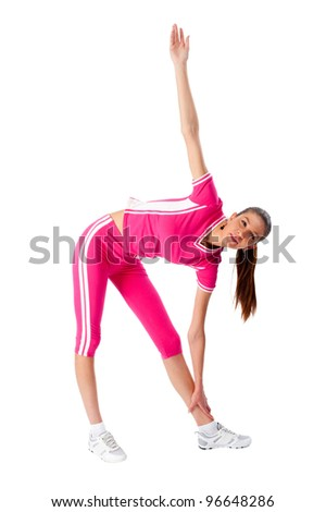 Fitness woman doing exercise - stock photo