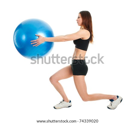 Fitness woman doing lunge exercise - stock photo