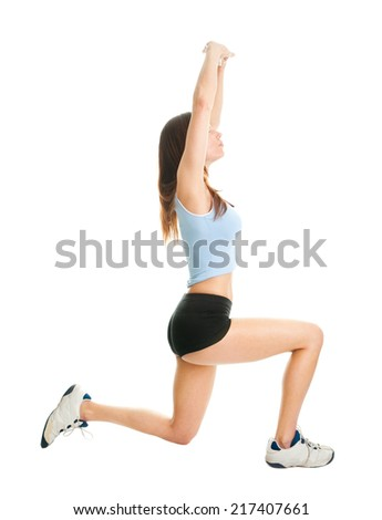 Fitness woman doing lunge exercise. Isolated on white - stock photo