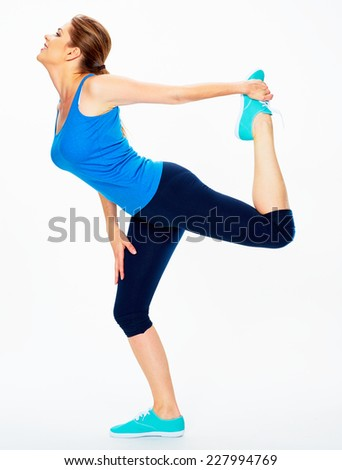 fitness woman doing yoga  exercise.  white background isolated - stock photo