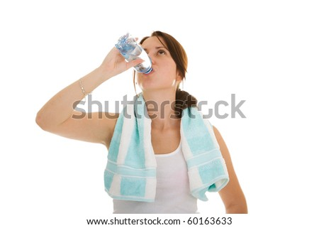 fitness woman drink water isolate on white background - stock photo