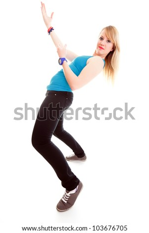 Fitness woman exercising dance class aerobics in full length isolated on white background.