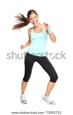 Fitness woman exercising dance class aerobics in full length isolated on white background. Mixed race Asian Caucasian female model.