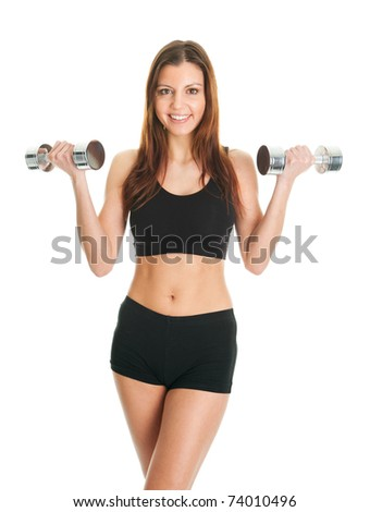 Fitness woman exercising with dumpbells