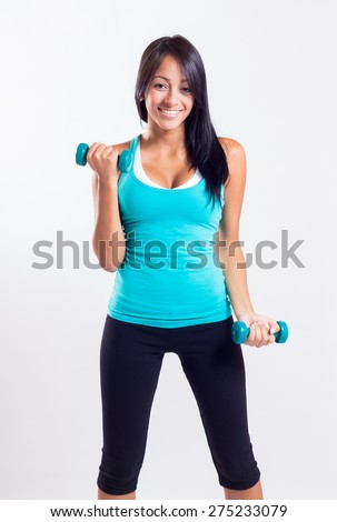 fitness woman lifting weight - stock photo
