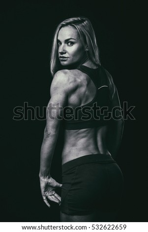 fitness woman on black