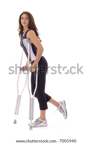 fitness woman on crutches