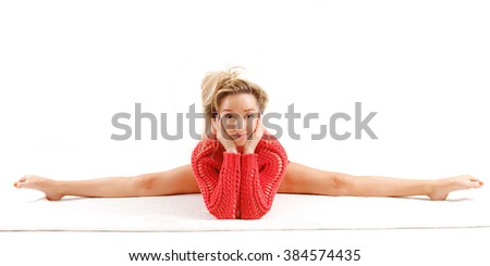 Fitness woman practice yoga on a rug