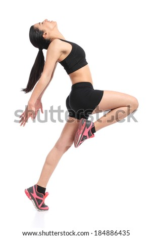 Fitness woman profile dancing doing aerobic exercises isolated on a white background            - stock photo