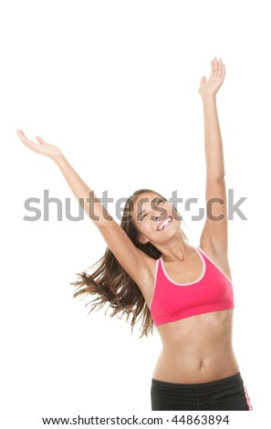 Fitness woman. Smiling happy asian fitness girl with arms raised looking up. Gorgeous smiling mixed race chinese / caucasian model isolated on white background.