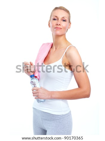 Fitness woman. Sport. Isolated on white background. - stock photo