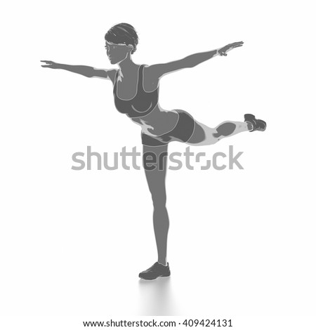 Fitness woman stretching on white isolated - warm up concept