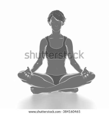 Fitness woman stretching on white isolated - yoga concept - stock photo