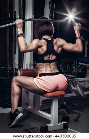 Fitness woman, with a very beautiful sport and slim figure - stock photo