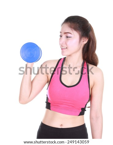 Fitness woman with dumbbell isolated on white background