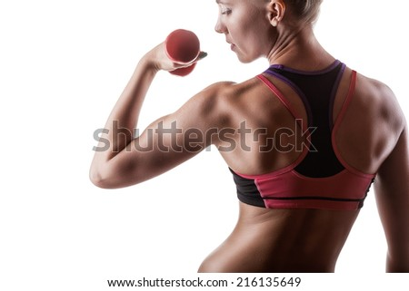 Fitness woman with dumbbells on a white background. Back view - stock photo