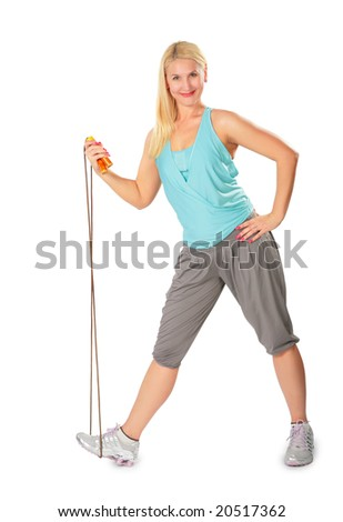 fitness woman with jump rope - stock photo