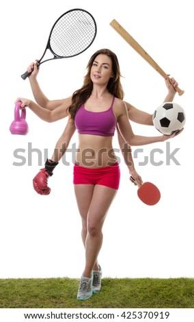 fitness woman with six arm holding different sports items standing on grass shot in the studio