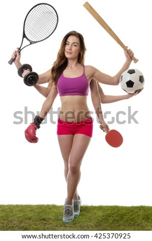 fitness woman with six arm holding different sports items standing on grass shot in the studio - stock photo