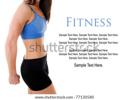 Fitness Woman with Text Space to the right - stock photo
