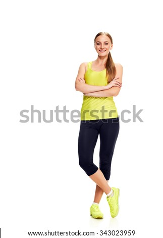 fitness woman. Young sporty Caucasian female model isolated on white background in full body - stock photo