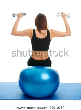 Fitness women doing weightlifting on fitness ball - stock photo