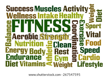 Fitness word cloud on white background - stock photo