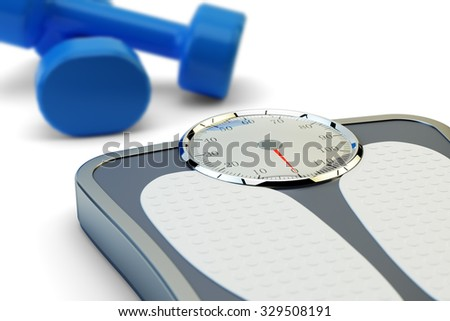 Fitness workout, slimming exercises and weight loss concept, floor scales and blue dumbbells on white background - stock photo