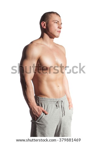Fitness young man isolated on white - stock photo