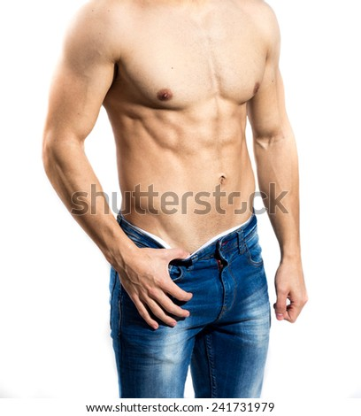 Fitness young man posing shirtless