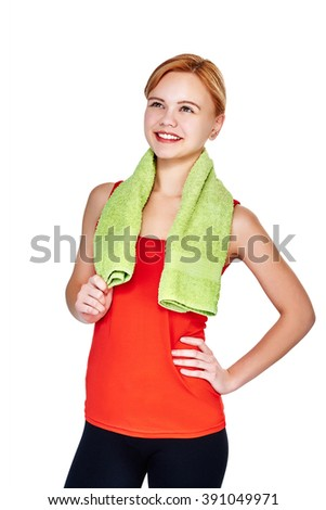 Fitness young smiling woman portrait isolated on white background. Satisfied happy female fitness model looking at the distance. Fresh and bright Caucasian fitness girl. - stock photo