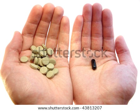 Fitotherapie VS antibiotics, long, but carefully - stock photo