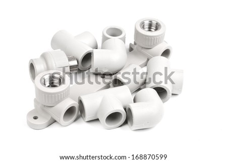 Fitting - PVC connection coupler to connect polypropylene tubes, isolated on a whiter  - stock photo