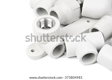 Fitting - PVC connection coupler to connect polypropylene tubes, isolated on a whiter