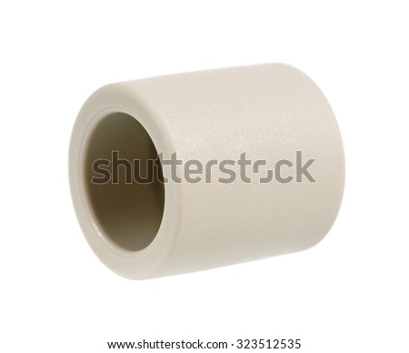 Fittings for plastic pipes - isolated on a white background  - stock photo