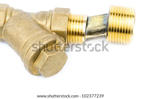 Fittings for water pipes. Photo close-up isolated on white background
