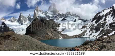 Fitz Roy and Laguna de los Tres in Argentina - stock photo