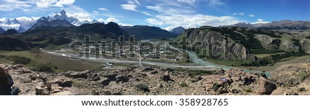 Fitz Roy and panorama of El Chalten, Argentina - stock photo