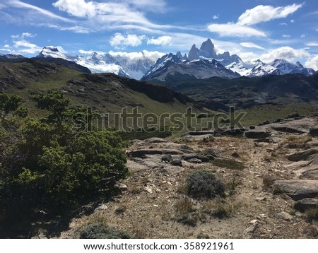 Fitz Roy and the Andes in Argentina - stock photo