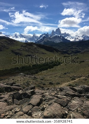 Fitz Roy in Los Glaciares National Park, Argentina - stock photo