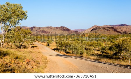 Fitzroy Crossing is a great base to explore Tunnel Creek National Park and Windjana Gorge National Park   the mountains are part of the King Leopold Ranges - stock photo