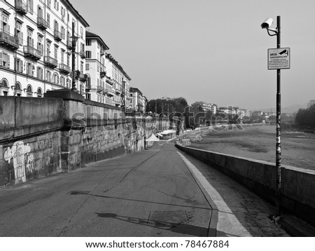 Fiume Po (River Po) in Turin, Italy - stock photo
