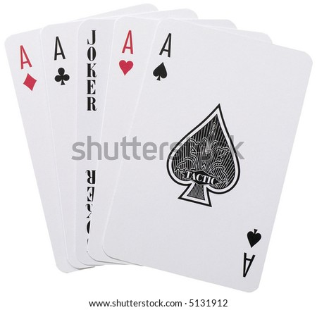 Five Aces - isolated on white - stock photo