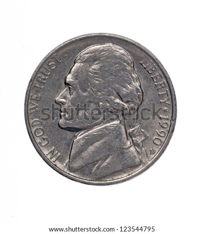 Five American cents  - stock photo