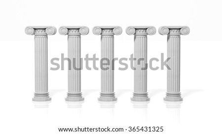Five ancient pillars, isolated on white background. - stock photo